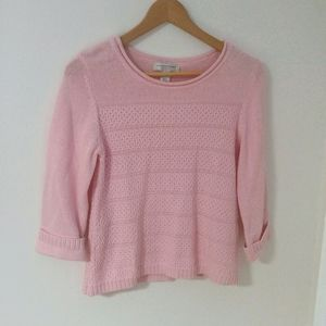 Vintage 100% Cotton Baby Pink Knit Sweater